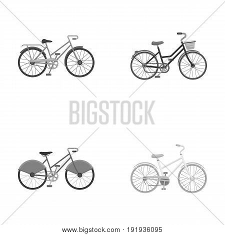 Sports bike and other types.Different bicycles set collection icons in monochrome style vector symbol stock illustration .