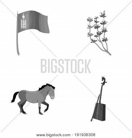 National flag, horse, musical instrument, steppe plant. Mongolia set collection icons in monochrome style vector symbol stock illustration .