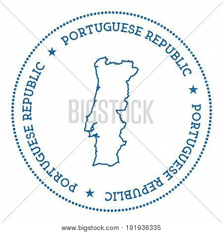 Portugal Vector Map Sticker. Hipster And Retro Style Badge With Portugal Map. Minimalistic Insignia
