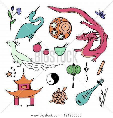 Culture Of China Icons. Hand Drawn Chinese Symbols.
