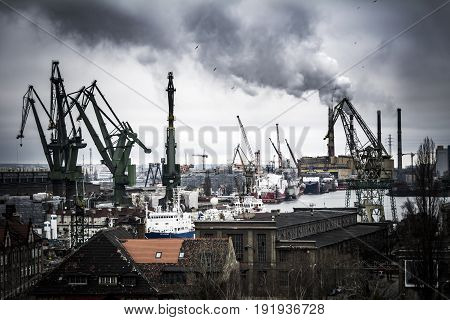 Heavy industrial scene at the Gdansk shipyard in Poland