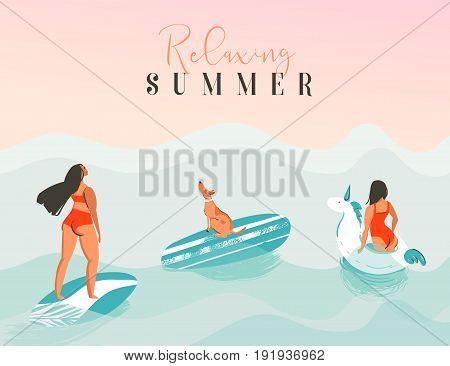 Hand drawn vector abstract exotic summer time funny illustration with surfer girls, unicorn float, surfboard and dog looking at the sunset on blue ocean waves with modern calligraphy Relaxing summer.