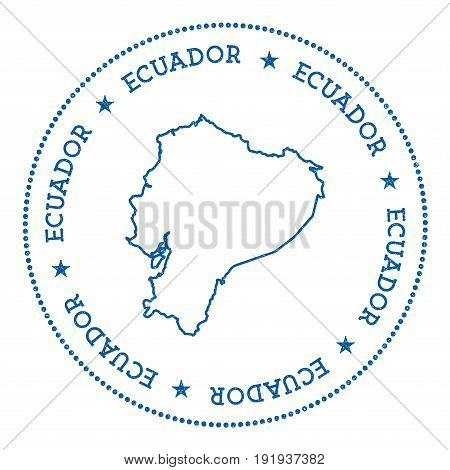 Ecuador Vector Map Sticker. Hipster And Retro Style Badge With Ecuador Map. Minimalistic Insignia Wi
