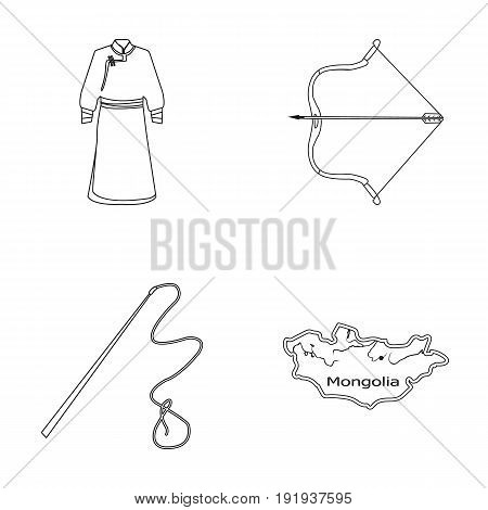 .mongol dressing gown, battle bow, theria on the map, Urga, Khlyst. Mongolia set collection icons in outline style vector symbol stock illustration .