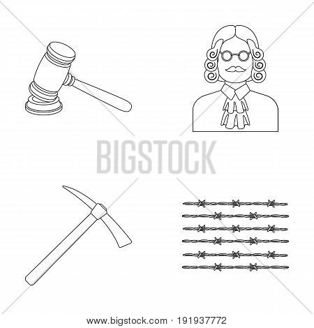 Judge, wooden hammer, barbed wire, pickaxe. Prison set collection icons in outline style vector symbol stock illustration .