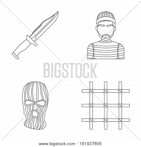 Knife, prisoner, mask on face, steel grille. Prison set collection icons in outline style vector symbol stock illustration .