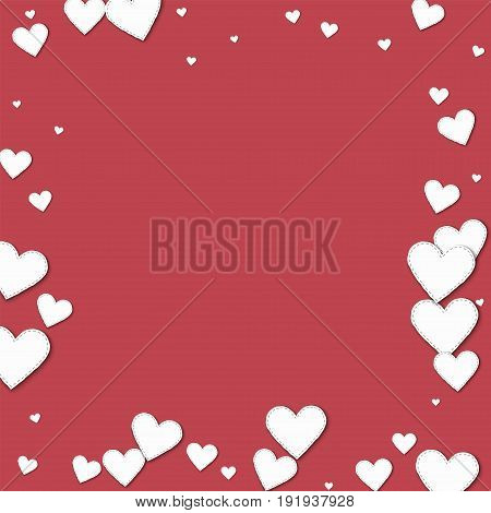 Cutout White Paper Hearts. Chaotic Border With Cutout White Paper Hearts On Crimson Background. Vect