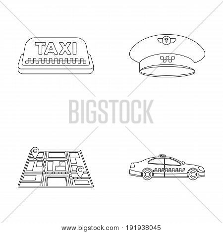 Yellow taxi inscription, a cap with a taxi badge, a map with a mark, a car with checkers. Taxi set collection icons in outline style vector symbol stock illustration .