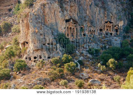 Famous Lycian Tombs of ancient Caunos city, Dalyan, Turkey.