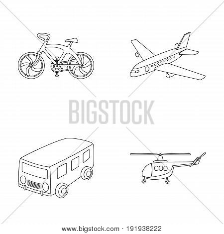Bicycle, airplane, bus, helicopter types of transport. Transport set collection icons in outline style vector symbol stock illustration .