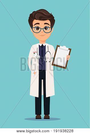 Medical doctor in white coat and glasses holding clipboard. Vector illustration. EPS10