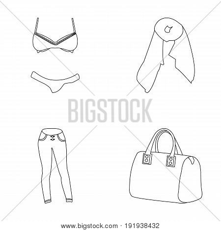 Bra with shorts, a women's scarf, leggings, a bag with handles. Women's clothing set collection icons in outline style vector symbol stock illustration .