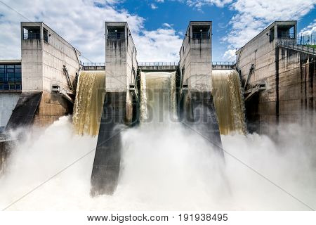 Intense draining water from the hydroelectric dam.