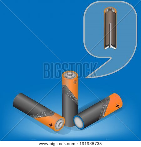 Vector isometric illustration of Alkaline Batteries of size A. Visual aid.