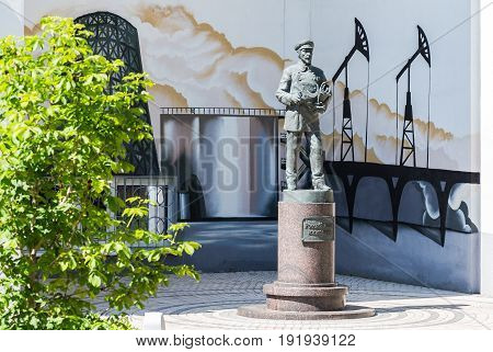 Samara Russia - May 12 2017: Monument to Russian engineer near a Technical university in Samara Russia