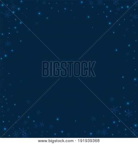 Sparse Glowing Snow. Bordered Frame On Deep Blue Background. Vector Illustration.