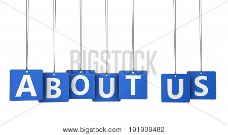 About us sign and letters on blue paper tags for blog and online business concept 3d illustration.