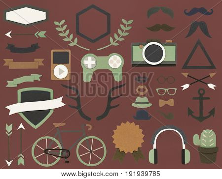 Group of leisure activity and hobbies icon