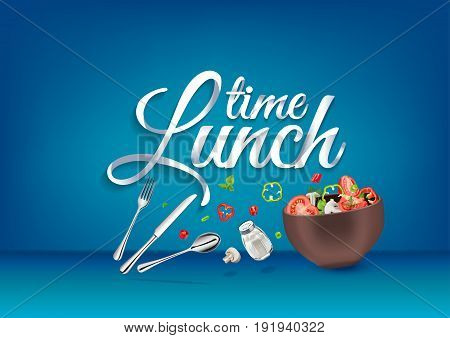 Lunch time paper hand lettering calligraphy. Vector illustration with food objects and text