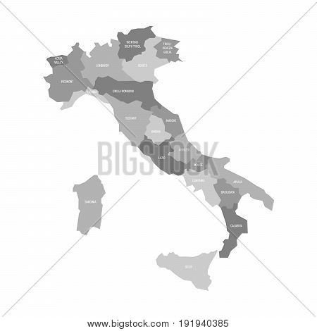 Map of Italy divided into 20 administrative regions in four shades of grey. White labels. Simple flat vector illustration.