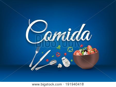 Lunch time - in spanish language, paper hand lettering calligraphy. Vector illustration with food objects and text.