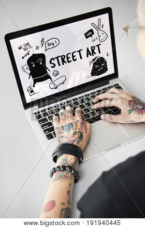 Illustration of graffiti street art culture