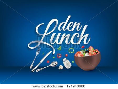 Lunch time - in german language, paper hand lettering calligraphy. Vector illustration with food objects and text.