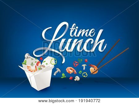 Lunch time paper hand lettering calligraphy. Vector illustration with food objects and text.