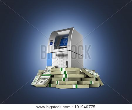 Atm Surrounded By 100 Dollar Bankrolls Bank Cash Machine In Pile Of Money American Dollar Bills Isol