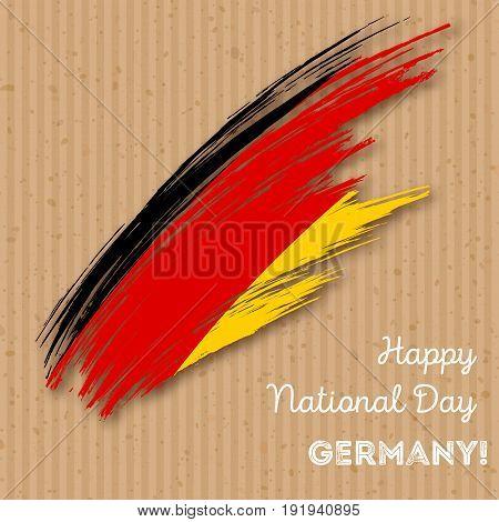 Germany Independence Day Patriotic Design. Expressive Brush Stroke In National Flag Colors On Kraft