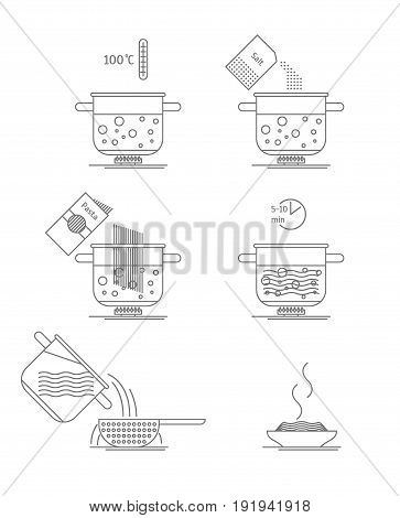 Pasta Cooking Thin Line Set Making Instruction Manual Recipe, Concept for Menu. Vector illustration