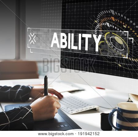 Graphic designer with ability word graphic word