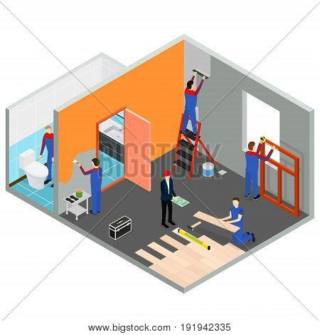 Interior Renovation Room or House Isometric View Modern Decoration Repair Project Service. Vector illustration