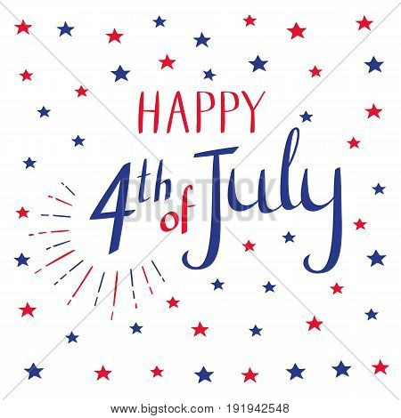 Happy 4th of July. Calligraphy and stars in blue and red colors for your design. Vector illustration on white background.