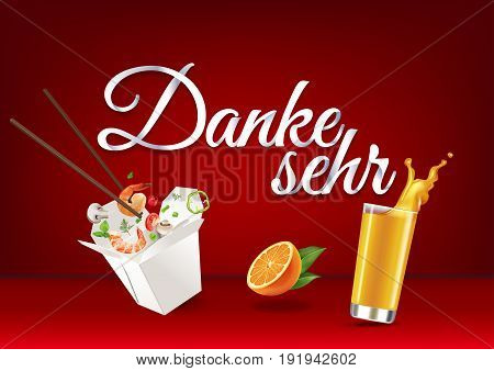 Thank you in german language, paper hand lettering calligraphy. Vector illustration with food, drink objects and text.