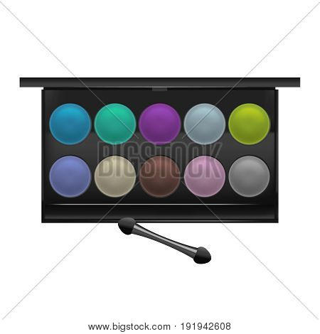 Realistic Detailed Color Shadows Palette Cosmetic Product for Fashion Makeup Female Beauty Eyes. Vector illustration