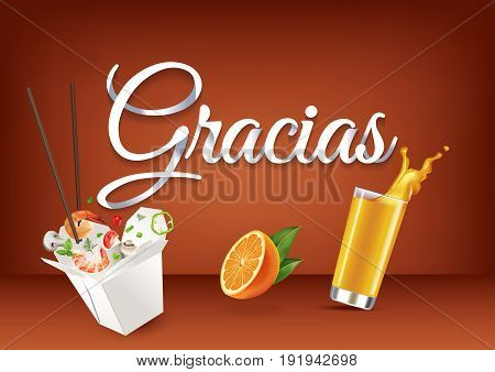 Gracias paper hand lettering calligraphy. Vector illustration with food, drink objects and text.