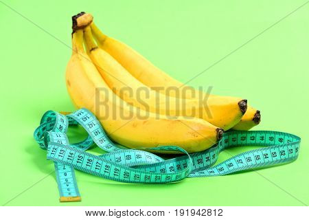 Tape For Measurement Or Flexible Ruler And Bananas