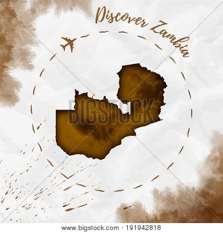 Zambia Watercolor Map In Sepia Colors. Discover Zambia Poster With Airplane Trace And Handpainted Wa