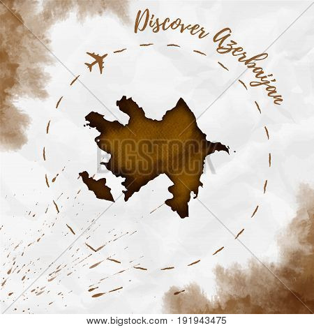 Azerbaijan Watercolor Map In Sepia Colors. Discover Azerbaijan Poster With Airplane Trace And Handpa