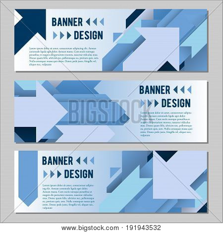 Vector set of banner templates with creative geometric lines and arrows for your fashion business design