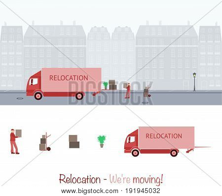 Relocation. Truck with carrier and cardboard boxes.
