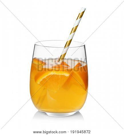 Tasty refreshing lemonade with orange in glass on white background