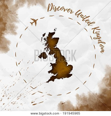 United Kingdom Watercolor Map In Sepia Colors. Discover United Kingdom Poster With Airplane Trace An
