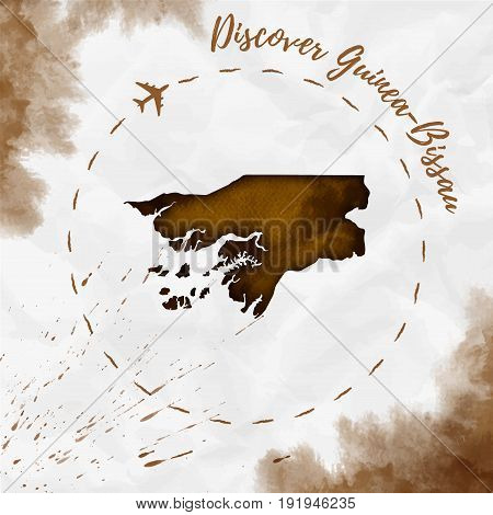 Guinea-bissau Watercolor Map In Sepia Colors. Discover Guinea-bissau Poster With Airplane Trace And