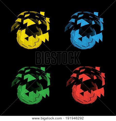 Vector set of multicolored spheres folding from triangle polygons for creative design, logos and web