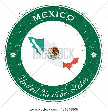 Mexico Circular Patriotic Badge. Grunge Rubber Stamp With National Flag, Map And The Mexico Written