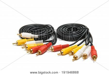 Video Audio connectors isolated on white background
