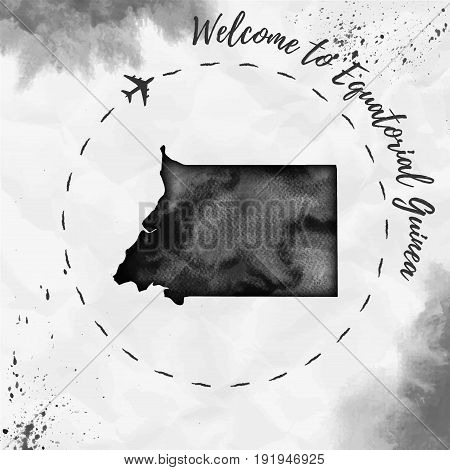Equatorial Guinea Watercolor Map In Black Colors. Welcome To Equatorial Guinea Poster With Airplane