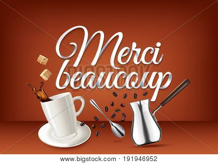 Merci beaucoup paper hand lettering calligraphy. Vector illustration with coffee objects and text.
